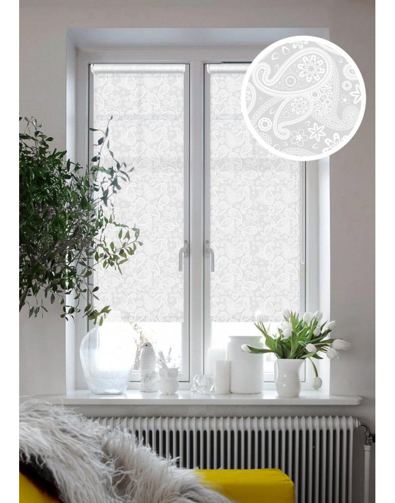 Рулонные шторы ШАНТАЛЬ белый на окна