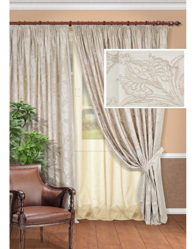 Комплект бежевых штор для гостиной Fenix-S 240x270