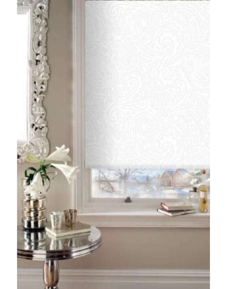 Рулонные шторы Миниролло Люкс для окна Арабеска белая