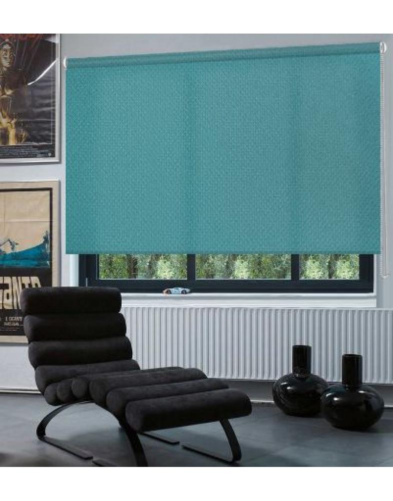 Рулонные шторы Миниролло Люкс для окна Рояль бирюзовый